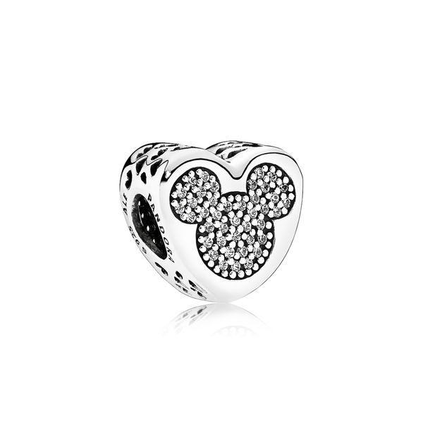 Disney Mickey Mouse and Minnie Mouse Pave Heart Charm Taylors Jewellers Alliston, ON