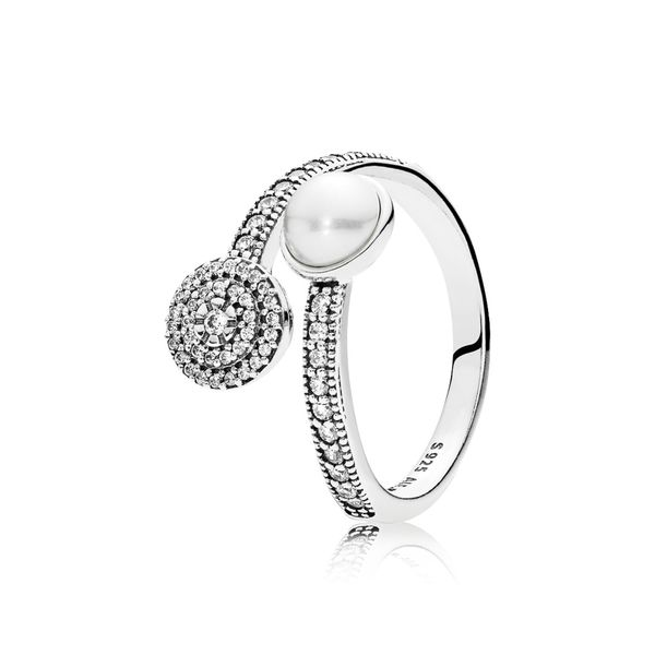 PANDORA 191044CZ-54 LUMINOUS GLOW, WHITE CRYSTAL PEARL & CLEAR CZ RING SIZE 7 Taylors Jewellers Alliston, ON