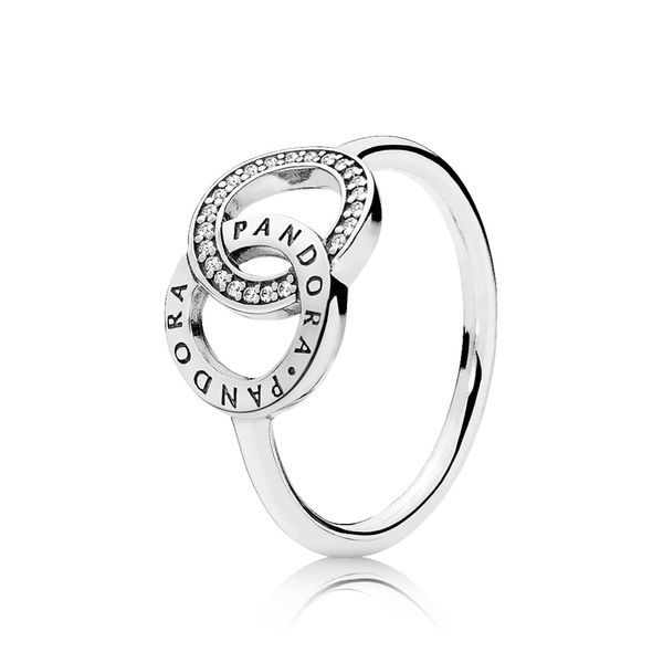 PANDORA 196326CZ-50 LOGO IN STERLING SILVER WITH CLEAR CZ RING SIZE 5 Taylors Jewellers Alliston, ON