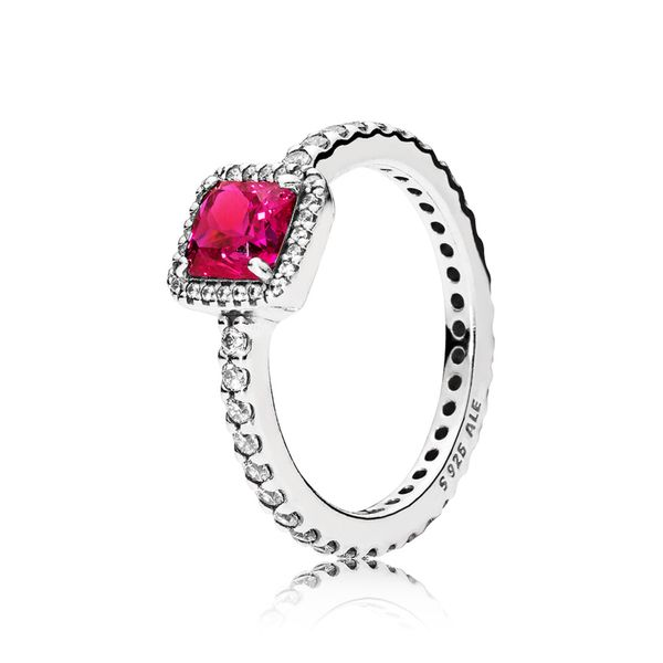 PANDORA 190947SRU-54 SYNTHETIC RUBY STERLING SILVER RING SIZE 7 Taylors Jewellers Alliston, ON