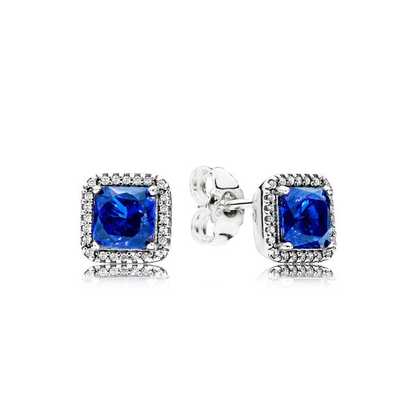 PANDORA 290591NBT BLUE SQUARE SPARKLE HALO STERLING SILVER EARRINGS Taylors Jewellers Alliston, ON