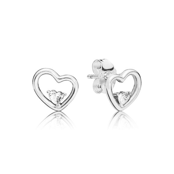 PANDORA 297813CZ ASYMMETRICAL HEART STUD EARRINGS Taylors Jewellers Alliston, ON