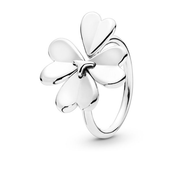PANDORA 197949-54 CLOVER OPEN STERLING SILVER RING SIZE 7 Taylors Jewellers Alliston, ON