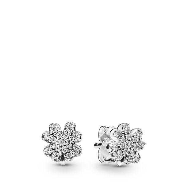 PANDORA 297944CZ PAVE FOUR-LEAF CLOVER STERLING SILVER EARRINGS Taylors Jewellers Alliston, ON