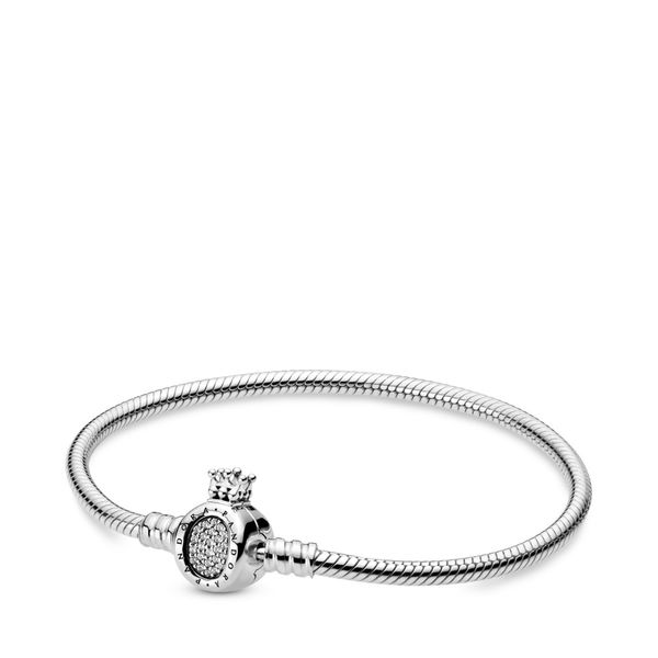 PANDORA 598286CZ-18 Sterling Silver Bracelet With Crown Cubic Zirconia O Clasp Size 7.1 Taylors Jewellers Alliston, ON