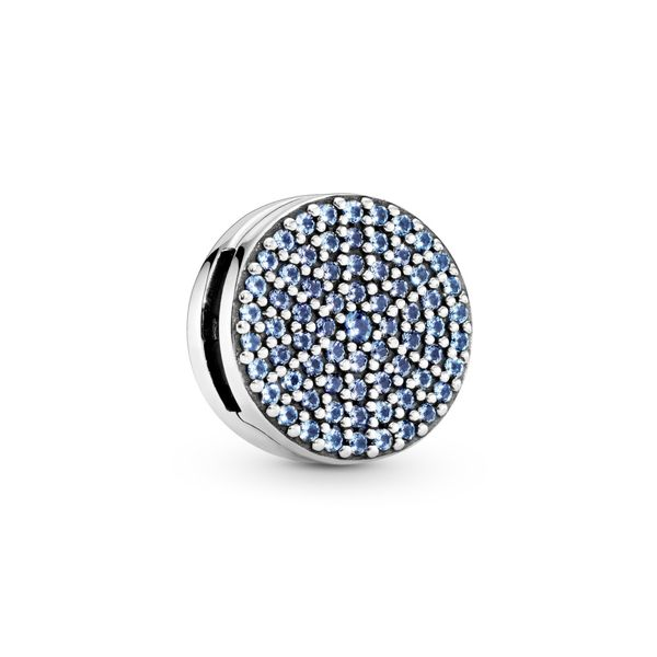 PANDORA 797583C01 ROUND BLUE ROUND PAVÉ CLIP CHARM Taylors Jewellers Alliston, ON