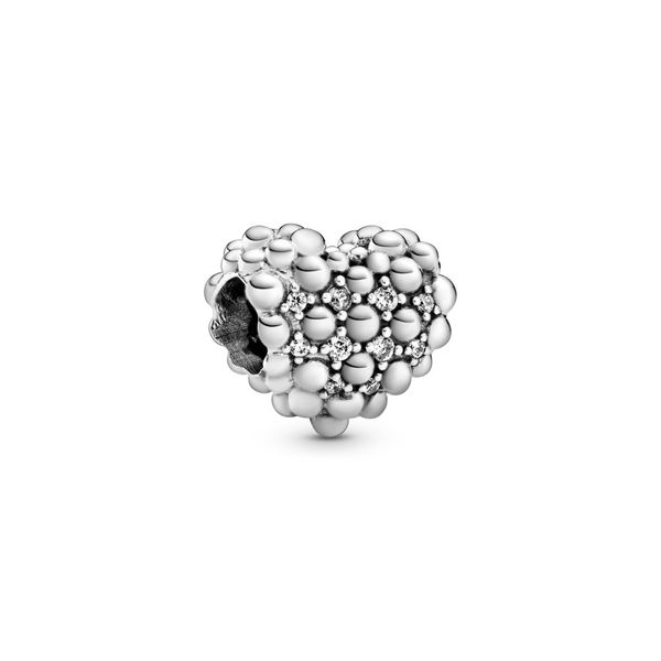 PANDORA 798681C01 BEADED SPARKLING HEART CHARM Taylors Jewellers Alliston, ON