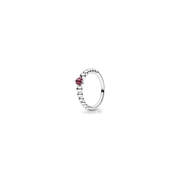 PANDORA 198598C02-50 TREATED RED TOPAZ BEADED STERLING SILVER RING SIZE 5 Taylors Jewellers Alliston, ON