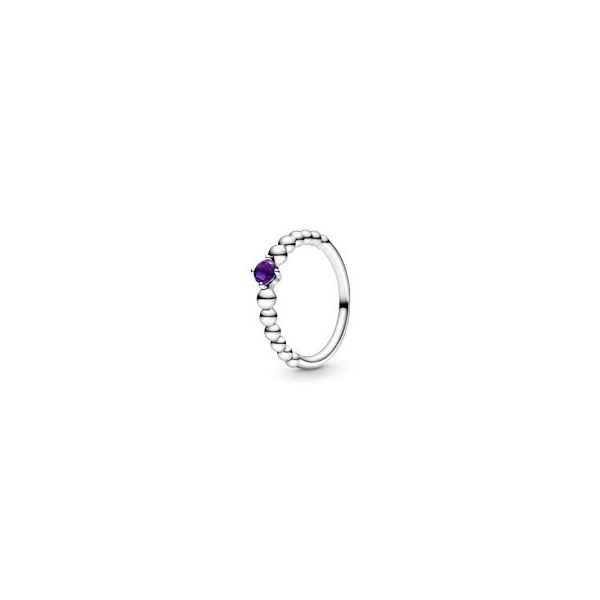 PANDORA 198598C03-56 TREATED PURPLE TOPAZ BEADED STERLING SILVER RING SIZE 7.5 Taylors Jewellers Alliston, ON