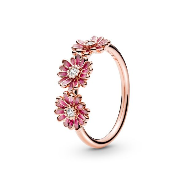 PANDORA Rose 188792C01-54 Pink Daisy Flower Trio Ring Size 7 Taylors Jewellers Alliston, ON