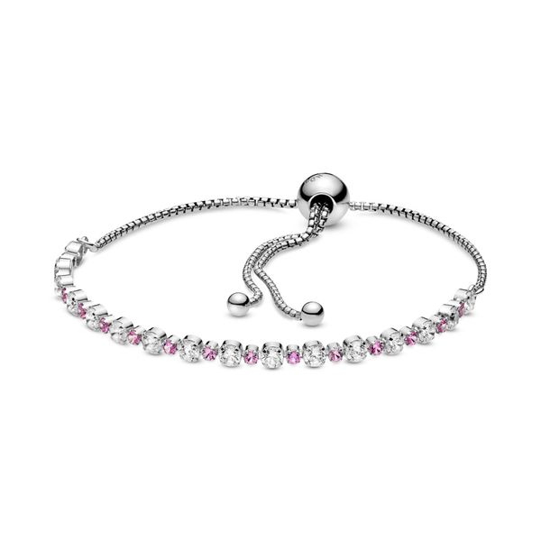 PANDORA 598517C02-1 Pink & Clear Sparkle Slider Bracelet Size 9.8 Taylors Jewellers Alliston, ON