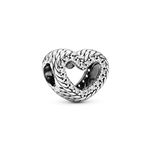 PANDORA 799100C01  SNAKE CHAIN PATTERN OPEN HEART CHARM Taylors Jewellers Alliston, ON