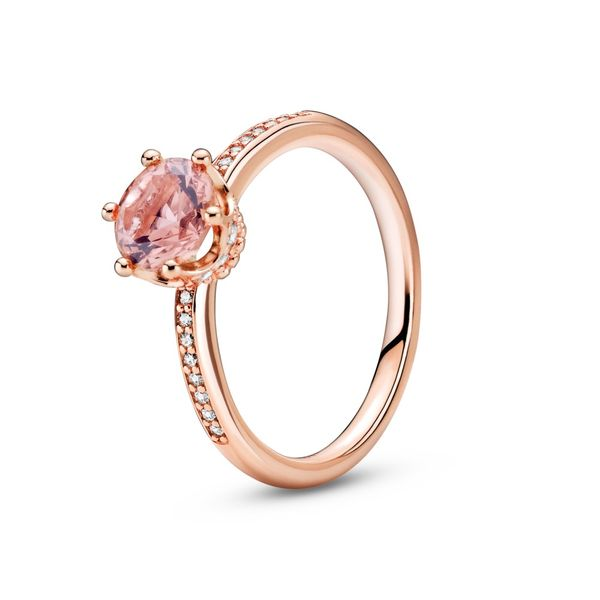 PANDORA 188289C01-56 Pink Sparkling Crown Solitaire Ring Size 7.5 Taylors Jewellers Alliston, ON