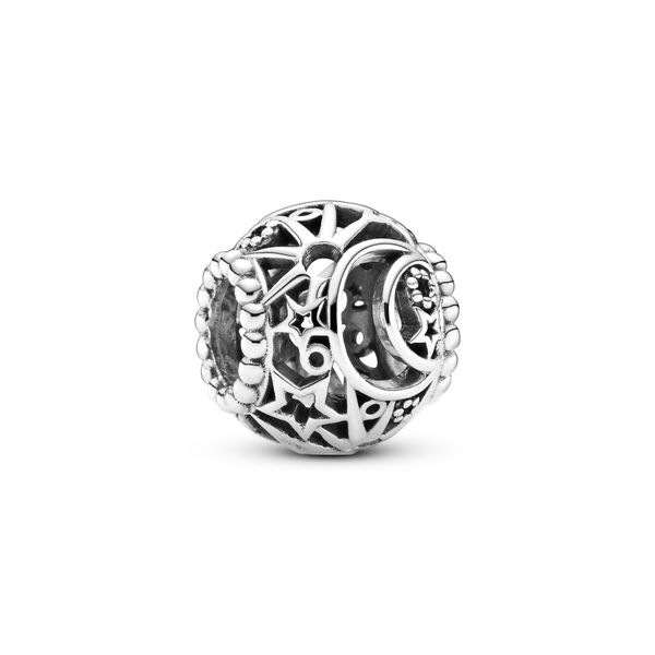 PANDORA 799183C00  STERLING SILVER OPENWORK SUN, STARS & MOON CHARM Taylors Jewellers Alliston, ON