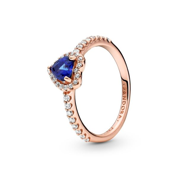 PANDORA Rose 188421C01-52 Sparkling Blue Elevated Heart Ring Size 6 Taylor's Jewellers Alliston, ON