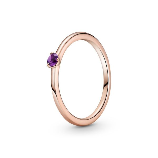 PANDORA ROSE 189259C06-52 ring with royal purple crystal Size 6 Taylors Jewellers Alliston, ON