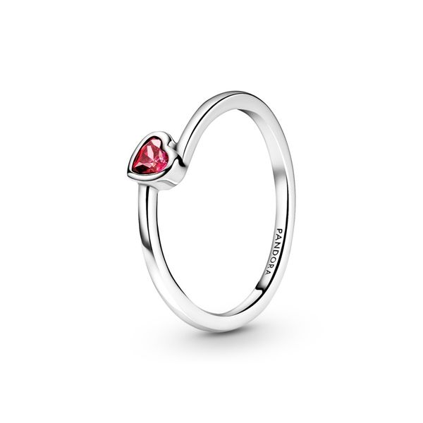 PANDORA 199267C01-54 HEART STERLING SILVER RING WITH RED CZ SIZE 7 Taylors Jewellers Alliston, ON