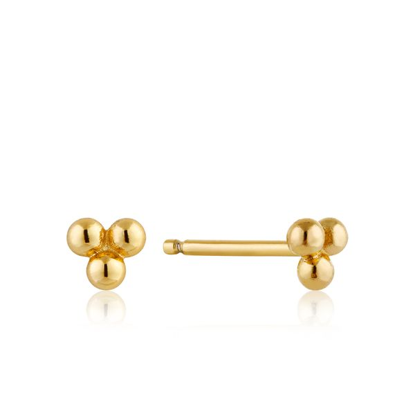 Ania Haie Modern Triple Ball Stud Earrings in 925 Sterling Silver with 14kt Gold Plating Taylors Jewellers Alliston, ON