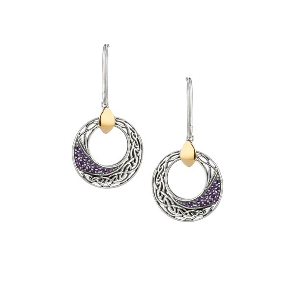 CELTIC COMET AMETHYST STERLING SILVER & 10 KT YELLOW GOLD EARRINGS Taylors Jewellers Alliston, ON