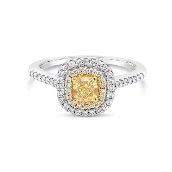 14k White Yellow Gold Cushion Cut Diamond Engagement Ring
