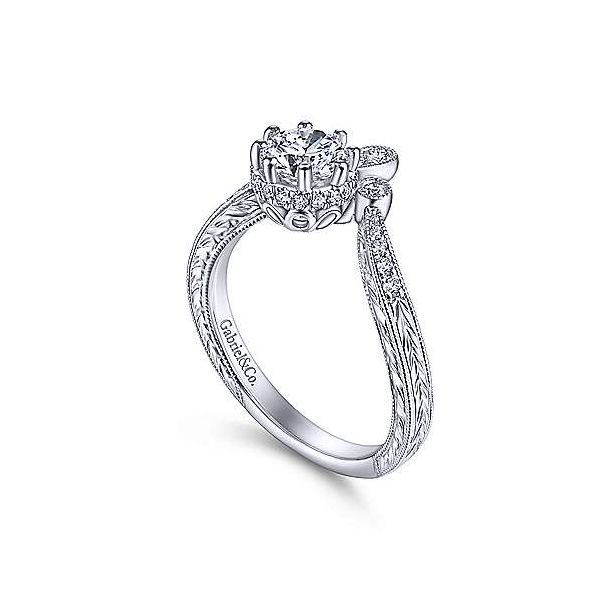 Vintage Inspired 14K White Gold Round Curved Diamond Engagement Ring Image 3 Texas Gold Connection Greenville, TX