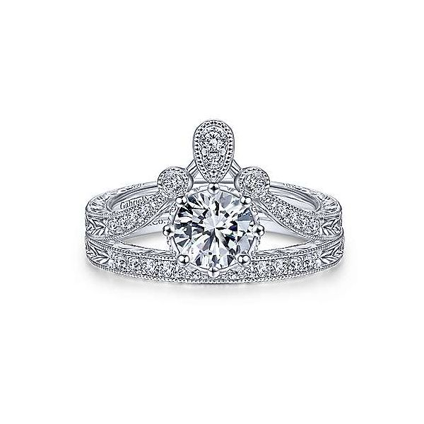Vintage Inspired 14K White Gold Round Curved Diamond Engagement Ring Image 4 Texas Gold Connection Greenville, TX