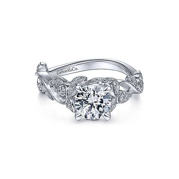 14K White Gold Twisted Round Diamond Engagement Ring Texas Gold Connection Greenville, TX