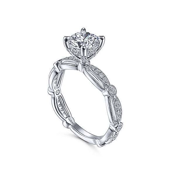 Vintage Inspired 14K White Gold Round Diamond Engagement Ring Image 3 Texas Gold Connection Greenville, TX