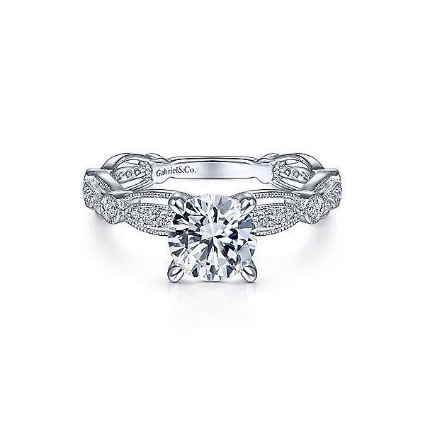 Vintage Inspired 14K White Gold Round Diamond Engagement Ring Texas Gold Connection Greenville, TX