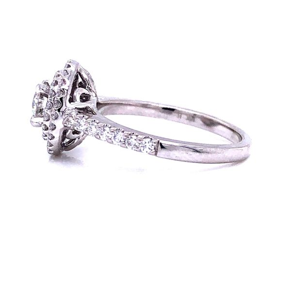 14K White Gold Double Halo Diamond Engagement Ring Image 2 Texas Gold Connection Greenville, TX