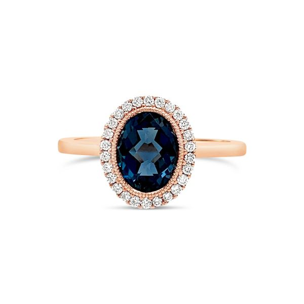 14K Rose Gold Diamond and London Blue Topaz Gemstone Engagement Ring Texas Gold Connection Greenville, TX