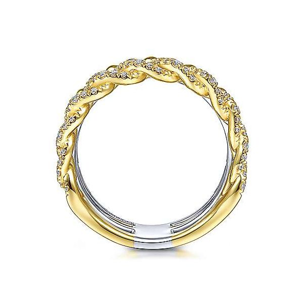 14K Yellow White Gold Wide Band Layered Ring Image 3 Texas Gold Connection Greenville, TX