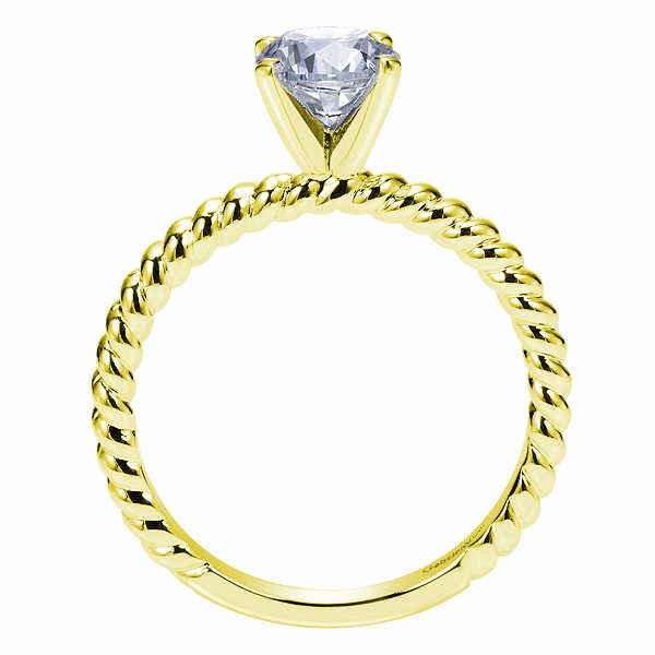 Yellow 14K Twisted Rope Solitaire Semi Mount Engagement Ring Image 2 Texas Gold Connection Greenville, TX