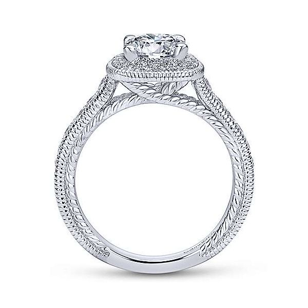 14K White Gold Cushion Halo Round Diamond Engagement Ring Image 2 Texas Gold Connection Greenville, TX