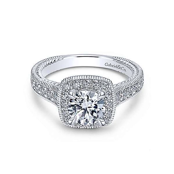 14K White Gold Cushion Halo Round Diamond Engagement Ring Texas Gold Connection Greenville, TX