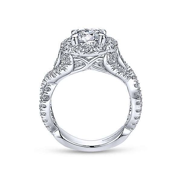 14K White Gold Round Halo Diamond Engagement Ring Image 2 Texas Gold Connection Greenville, TX