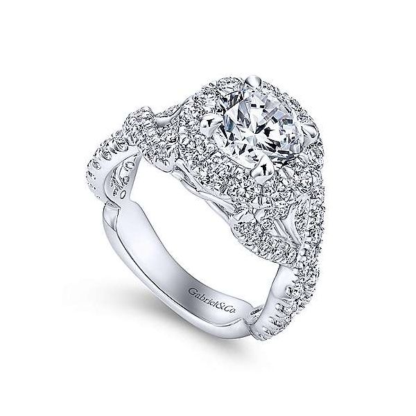 14K White Gold Round Halo Diamond Engagement Ring Image 3 Texas Gold Connection Greenville, TX