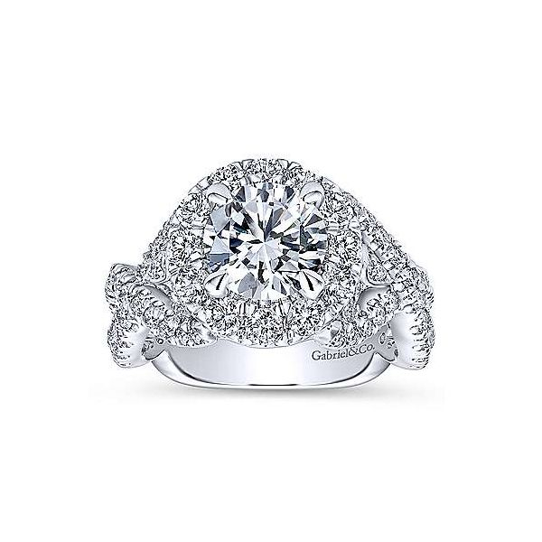 14K White Gold Round Halo Diamond Engagement Ring Image 5 Texas Gold Connection Greenville, TX