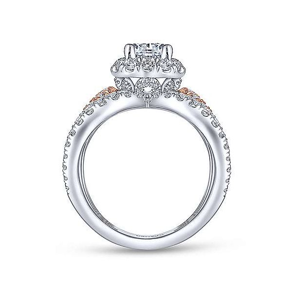 14K White-Rose Gold Round Halo Diamond Engagement Ring Image 2 Texas Gold Connection Greenville, TX
