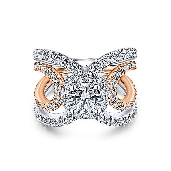 14K White-Rose Gold Round Halo Diamond Engagement Ring Texas Gold Connection Greenville, TX