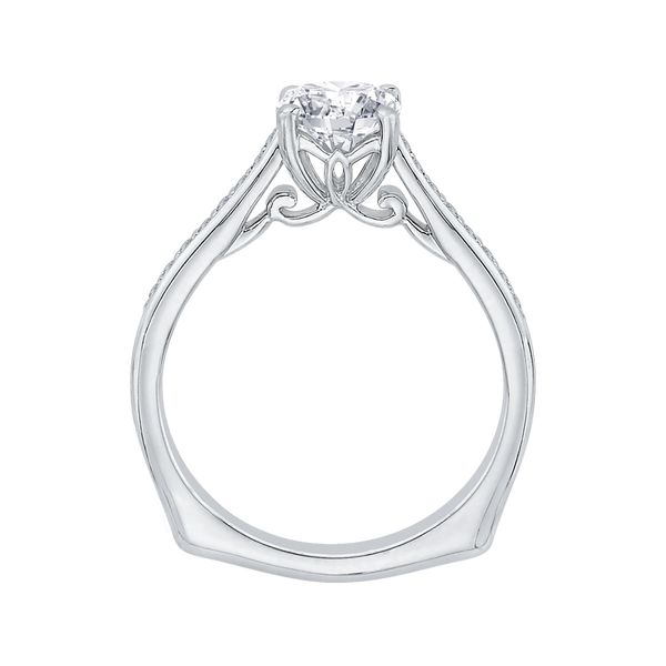 14K White Gold Straight Semi Mount Engagement Ring Image 4 Texas Gold Connection Greenville, TX