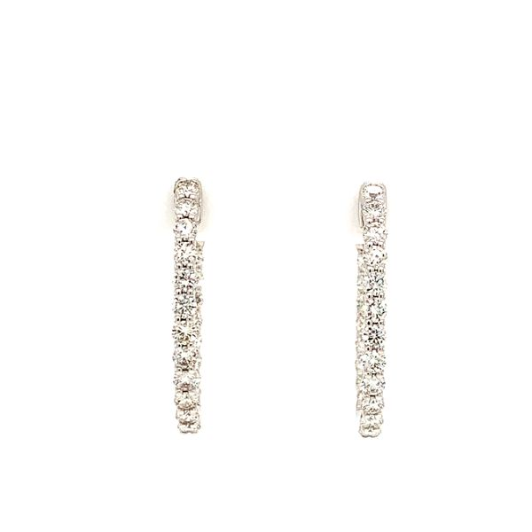 Lady's White 14K Small In and Out Hoop Earrings with 1 2/5 ct Diamonds Texas Gold Connection Greenville, TX