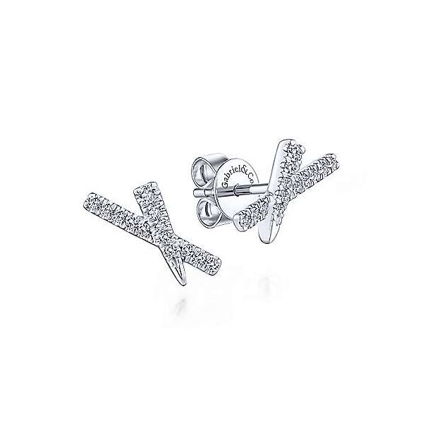 14k White Gold Tapered X Diamond Stud Earrings Texas Gold Connection Greenville, TX