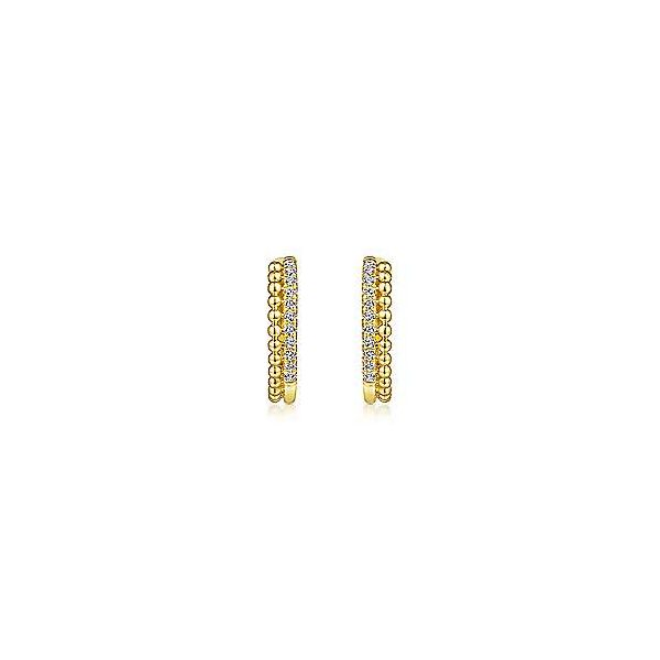 14k Yellow Gold Beaded Pave Diamond Huggie Earrings Image 3 Texas Gold Connection Greenville, TX