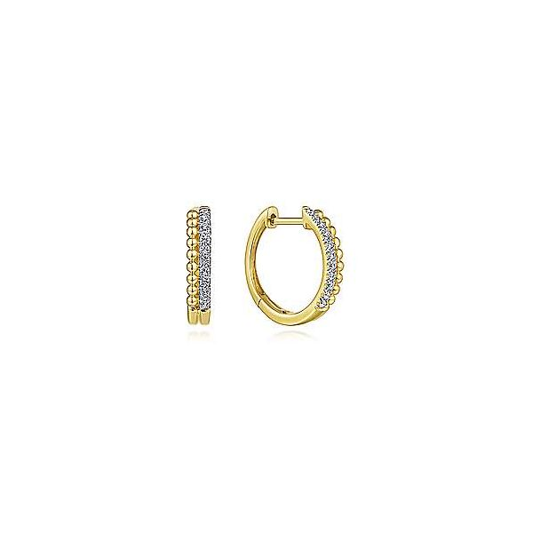 14k Yellow Gold Beaded Pave Diamond Huggie Earrings Texas Gold Connection Greenville, TX