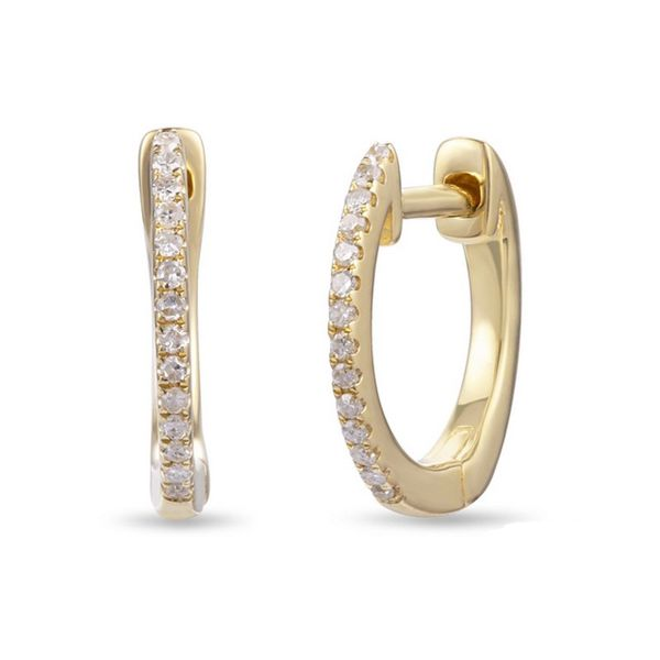 Lady's 14K Yellow Gold Huggie Earrings with 1/10 ct Round Diamonds Texas Gold Connection Greenville, TX