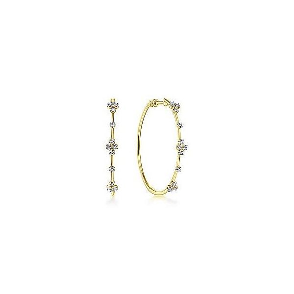 14K Yellow Gold Prong Set Round Classic Diamond Hoop Earrings Texas Gold Connection Greenville, TX