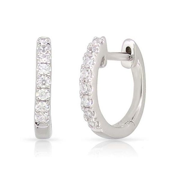 Lady's White 14 Karat Hoop Earrings With 1/5 ct Round Diamonds Texas Gold Connection Greenville, TX
