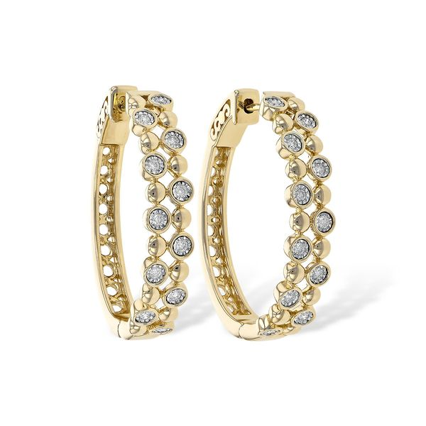 14K Yellow Gold Diamond Bubble Hoop Earrings Texas Gold Connection Greenville, TX