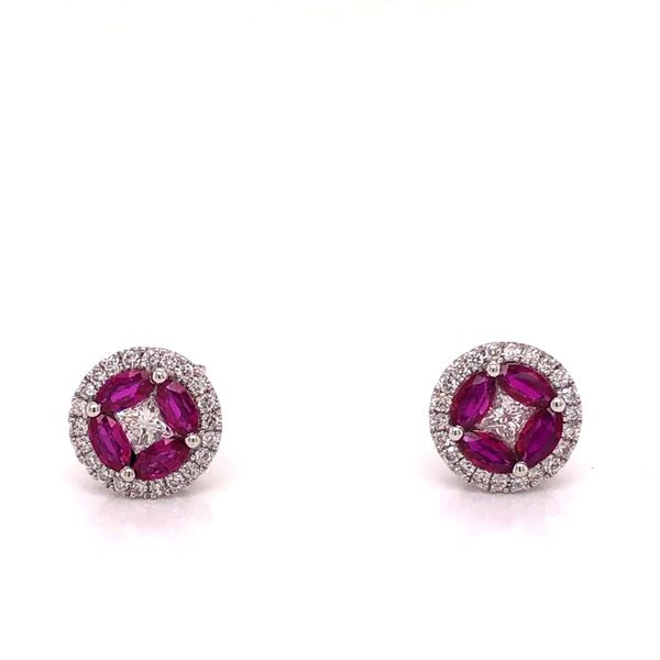 Lady's 14K White Gold Diamond and Ruby Earrings Texas Gold Connection Greenville, TX